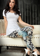 LEGGINGS CR-3457 BLUE AND BLACK
