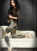 LEGGINGS CR-3456 BEIGE AND BLACK