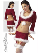 X-Mas Set, Suspender MIni Skirt With Top