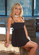 Lace and Mesh Babydoll & V-String, black